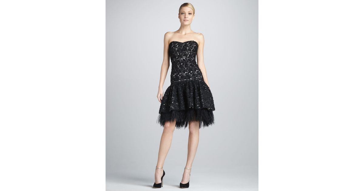 Badgley Mischka Black Strapless Lacefeather Cocktail Dress