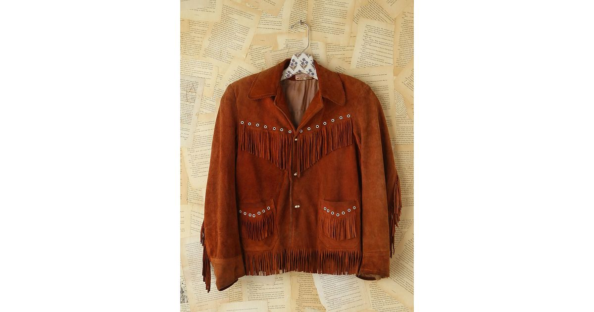 5f38f100c70 Lyst - Free People Vintage Brown Suede Fringe Jacket in Brown