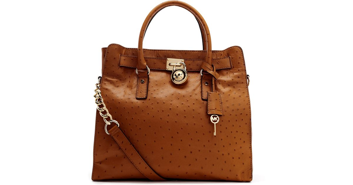60371a98fd9b Lyst - Michael Kors Large Hamilton Ostrich Embosesd Tote in Brown
