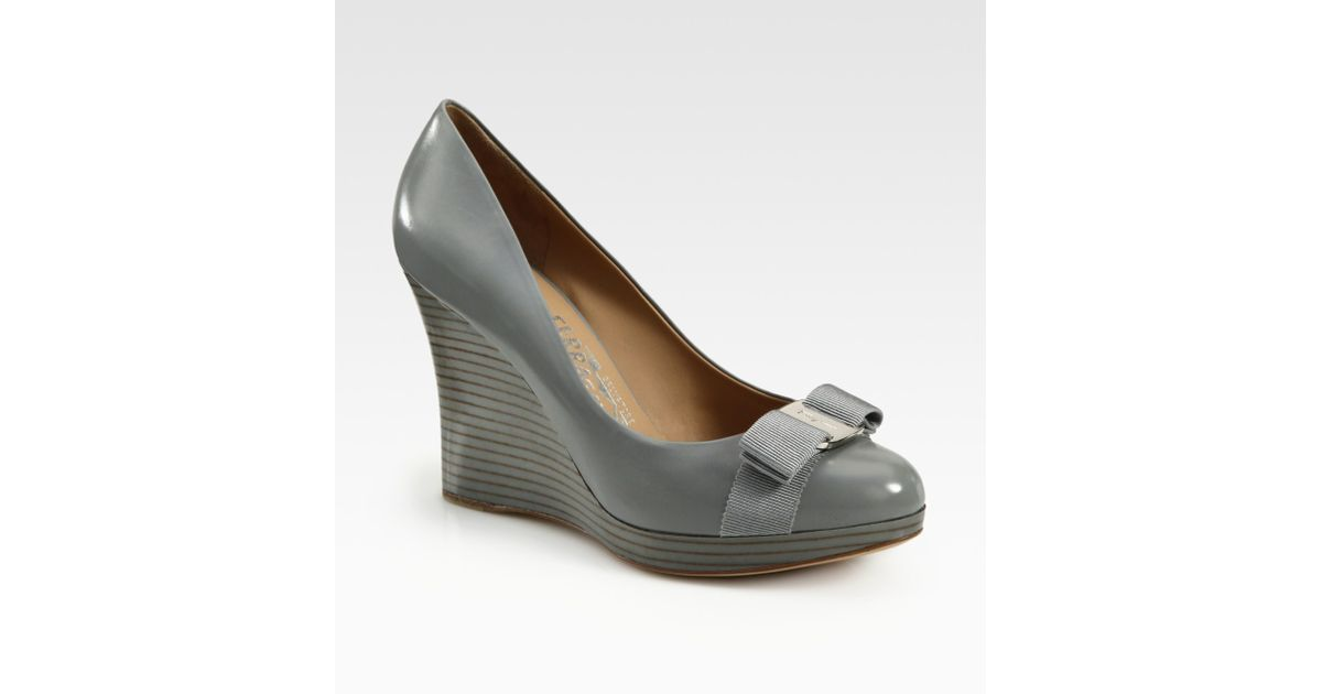 d50872a9fe62 Lyst - Ferragamo Tosca Leather Wedge Pumps in Gray