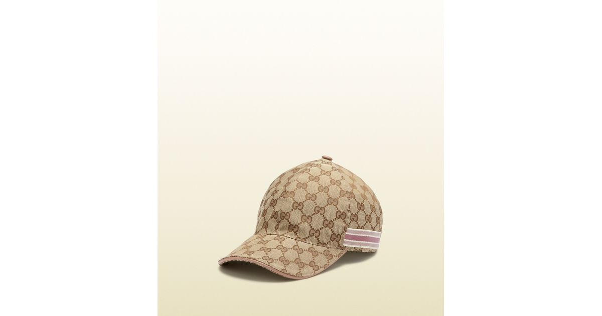 Lyst - Gucci Original Gg Canvas Baseball Hat with Ribbon Detail in Natural 75c13b444b8a