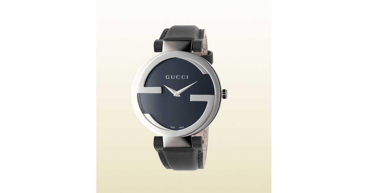 9c01575a83c Lyst - Gucci Interlocking G Collection Watch with Black Leather Strap in  Black