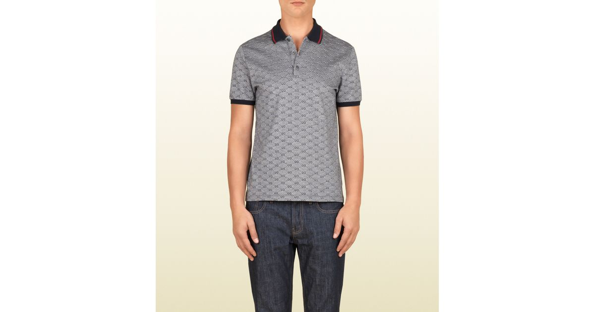 60cb8bf71 Gucci Ink Pique Gg Jacquard Short Sleeve Polo in Gray for Men - Lyst