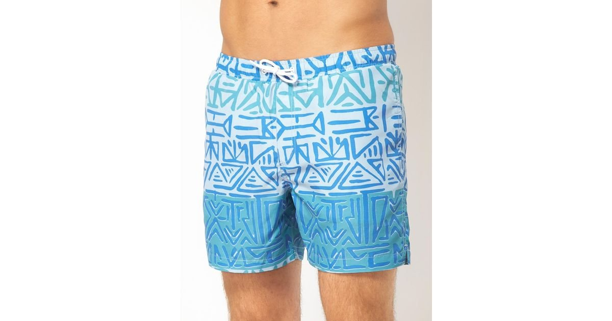 6103ff283796f ASOS Swim Shorts with Aztec Print in Blue for Men - Lyst