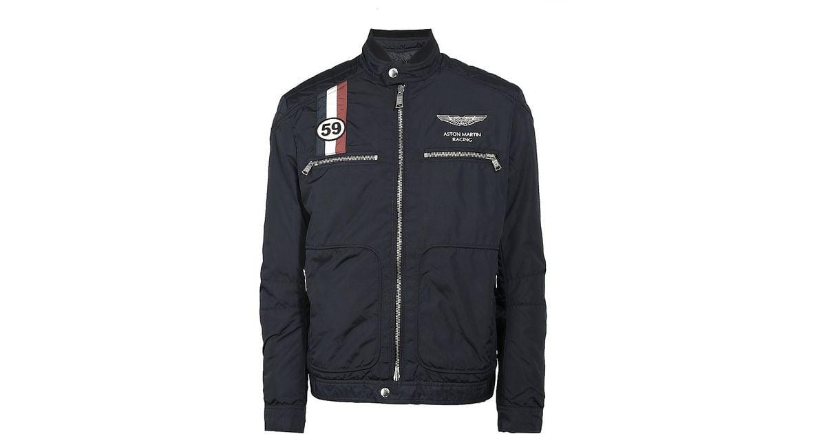 Hackett Aston Martin Racing Gb Moto Jacket In Blue For Men Lyst - Aston martin clothing