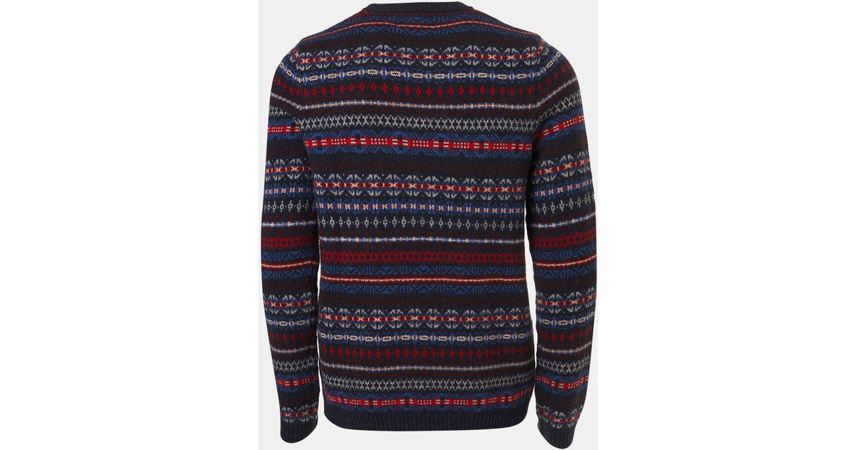 Topman Fair Isle Crewneck Sweater in Blue for Men   Lyst