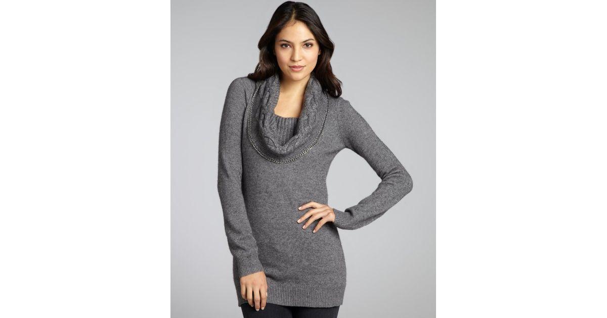 Autumn cashmere Grey Cashmere Blend Chain Detail Cowl Neck ...