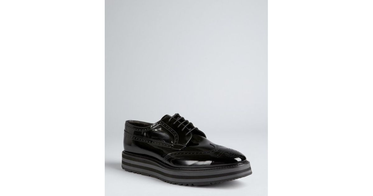 17310112d0f3 Lyst - Prada Fumo Patent Leather Platform Wingtip Oxfords in Black for Men