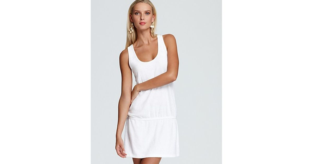 2f6ed6c5ee Splendid Terry Racerback Dress Swimsuit Coverup in White - Lyst