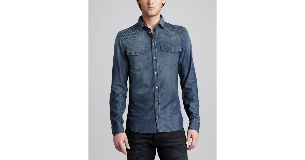 f1ce529ccc Lyst - Balmain Studded Denim Shirt in Blue for Men
