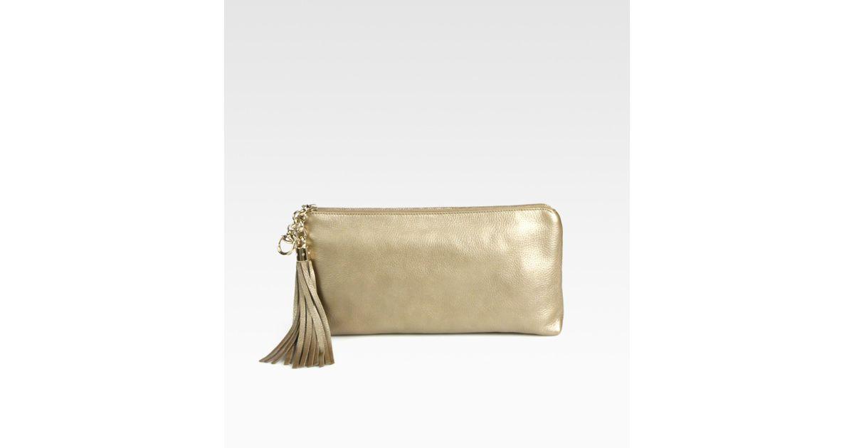 f9e29b69f9 Gucci Broadway Metallic Champagne Leather Evening Clutch in Metallic - Lyst