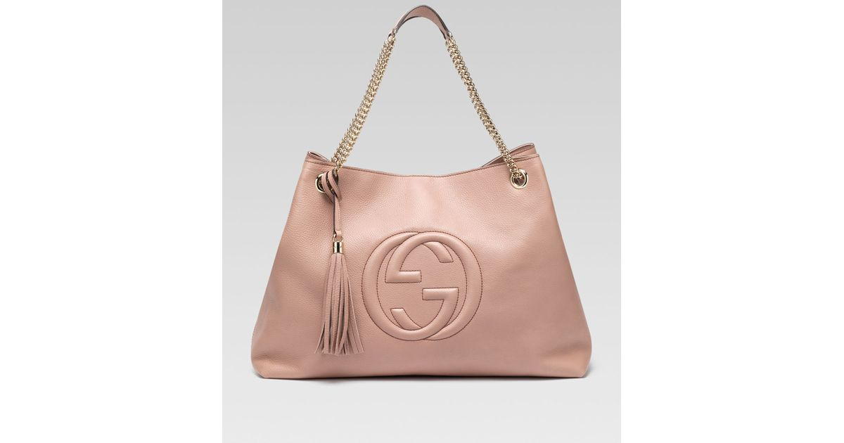 19f5f5b5201 Lyst - Gucci Soho Large Leather Doublechainstrap Shoulder Bag Cipria in Pink