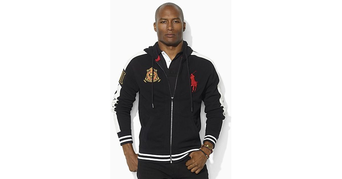 Lyst - Ralph Lauren Long Sleeved Full Zip Big Pony Fleece Hoodie in Black  for Men
