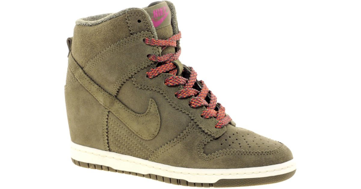 Lyst - Nike Dunk Sky High Olive Wedge Trainers in Natural