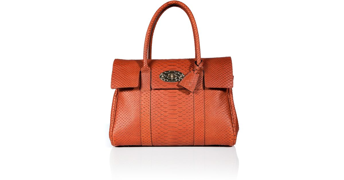 792b24548c5 ... discount lyst mulberry cinnamon silky snake print leather bayswater bag  in orange a4b45 a74f5