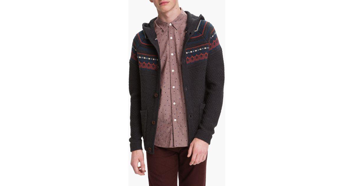 Lyst - Topman Fair Isle Hooded Sweater in Gray for Men