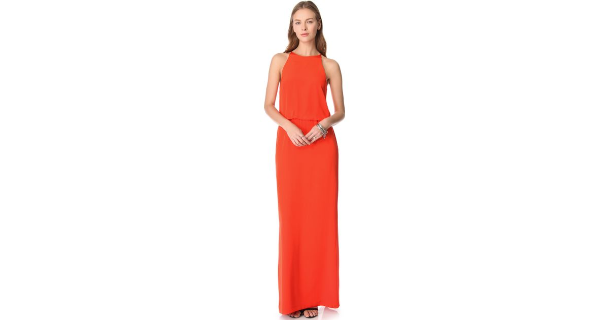 Tibi Long Halter Dress in Red - Lyst