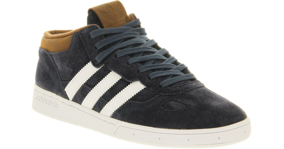 low priced 124aa ade44 Lyst - adidas Ciero Mid Navy Brown Suede Smu in Blue for Men