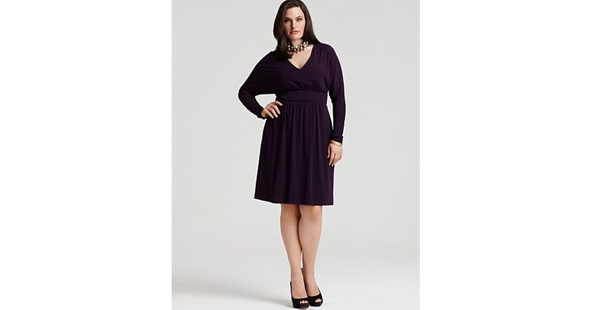 Lyst - David Meister Plus Size Vneck Cinch Dress in Black
