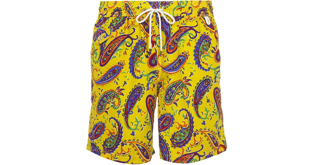 300a17c67c ... usa polo ralph lauren traveller paisley swim shorts in yellow for men  lyst 59b07 63a6b