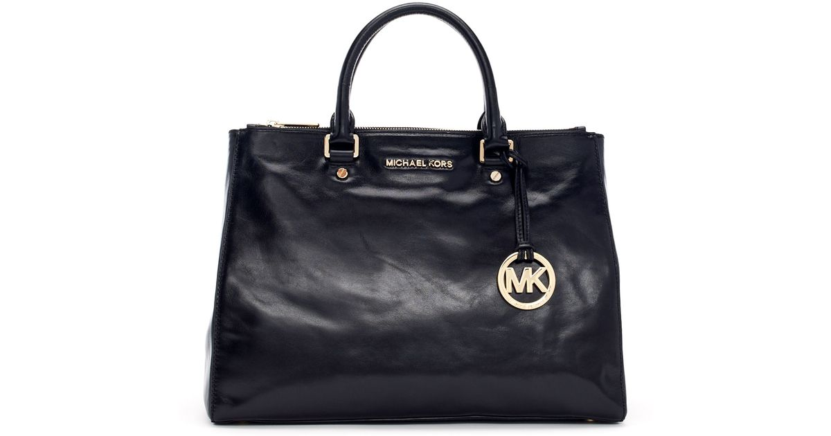 8f6c2cb90a63 Lyst - MICHAEL Michael Kors Large Bedford Leather Dressy Tote Bag in Black