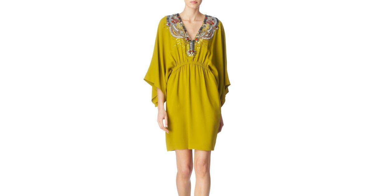 878c0bb3efe0 Emilio Pucci Embellished Kaftan Dress in Yellow - Lyst