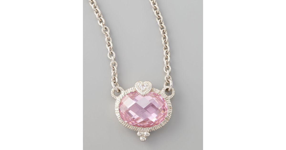 Lyst judith ripka pink heart pendant necklace in metallic aloadofball Image collections