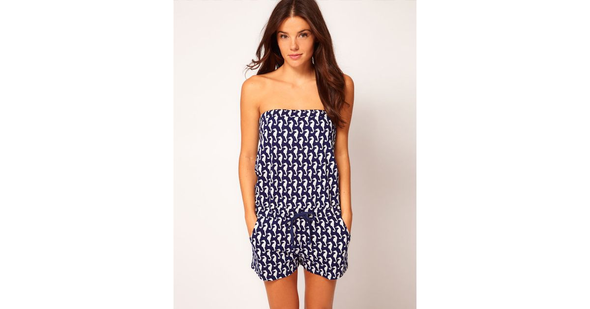 a1cbc4c0846 Lyst - ASOS Seahorse Print Jersey Beach Playsuit in Blue