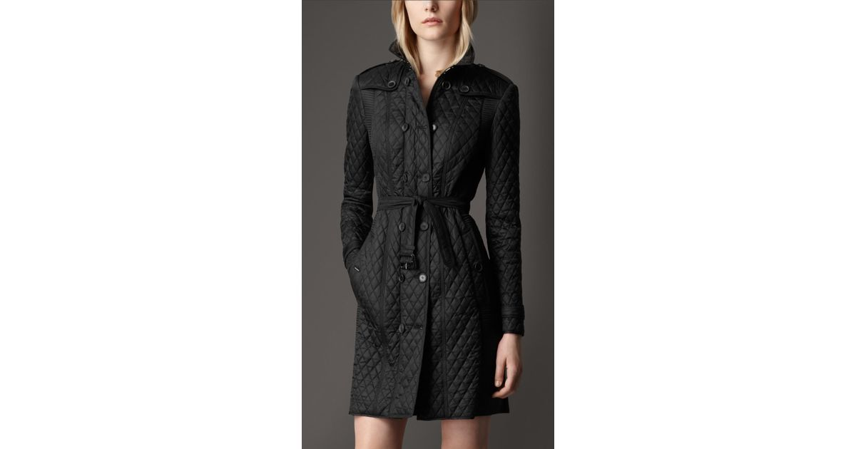 Burberry Long Quilted Trench Coat in Black | Lyst : burberry quilted trench - Adamdwight.com