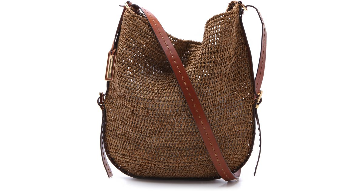 a15727dc5fcca0 Michael Kors Santorini Cross Body Bag in Brown - Lyst