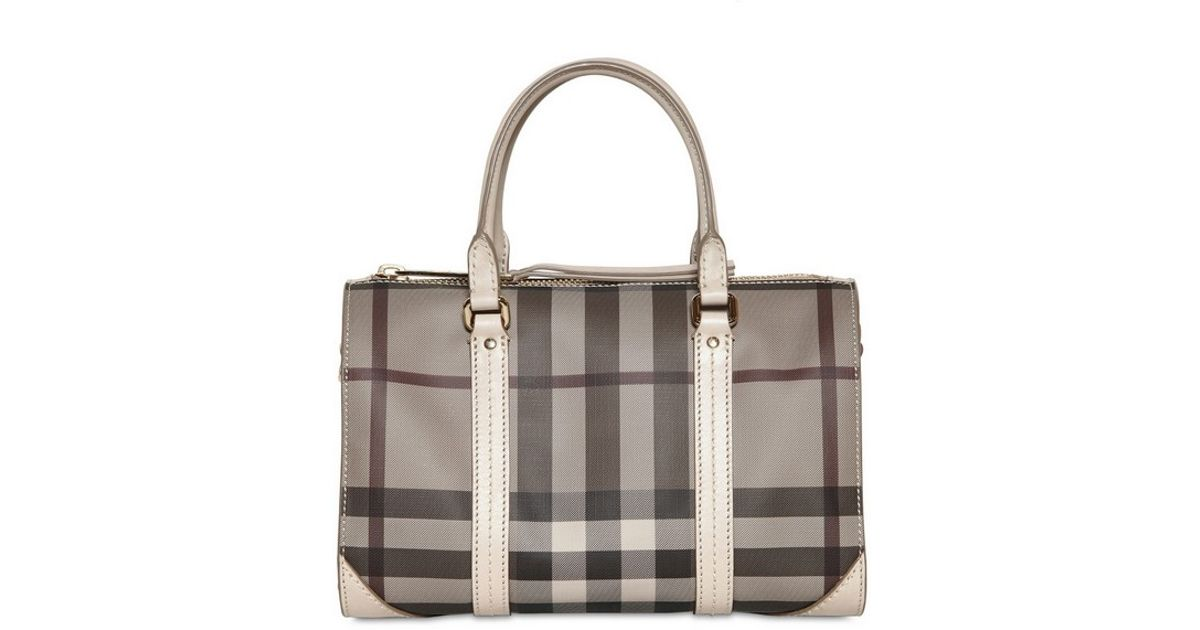 785c69a48d67 Lyst - Burberry Small Chester Smoked Check Pvc Bag in Gray