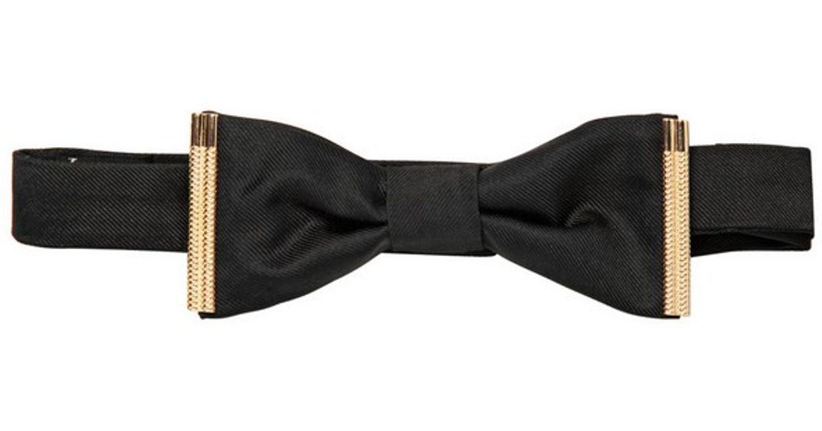 Lyst Dsquared 178 Gold Metal Trim Silk Twill Bow Tie In