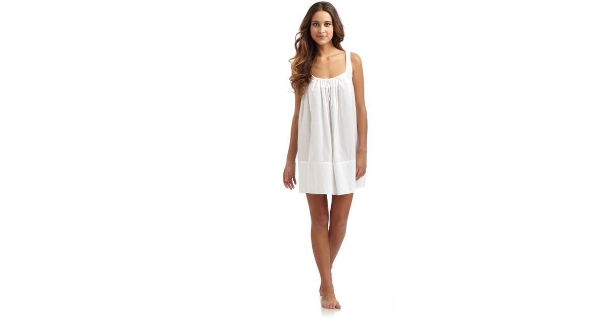 Lyst - Donna Karan Cotton Batiste Short Sleeveless Nightgown in White