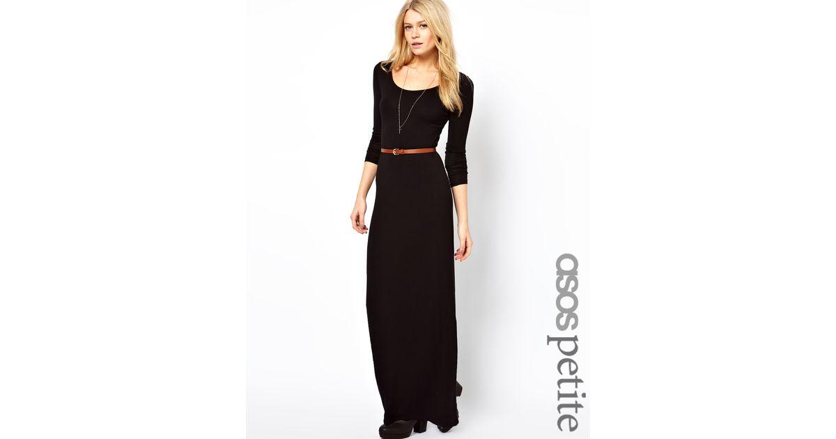 Lyst Asos Long Sleeve Maxi Dress With Belt In Black
