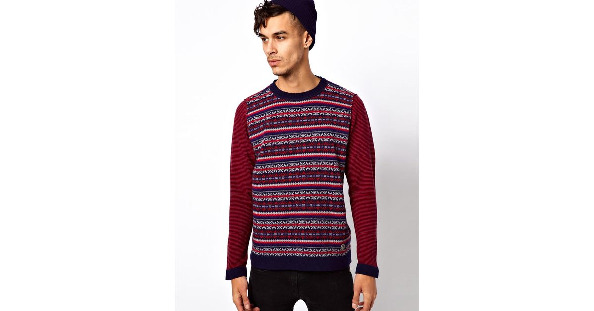 Love moschino Jumper with Fair Isle Print in Gray for Men | Lyst