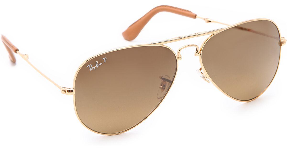 7584b75274 ... lens gold frame aviator sunglasses aviator e04de 2791d  coupon code for  lyst ray ban polarized folding aviator sunglasses in metallic 8c6e5 30cf4