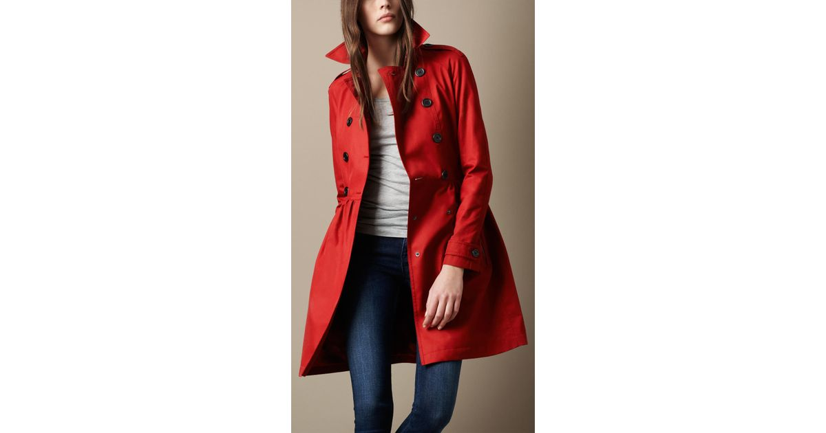 577324d3520b Lyst - Burberry Brit Mid-Length Cotton Poplin Gathered Skirt Trench Coat in  Red