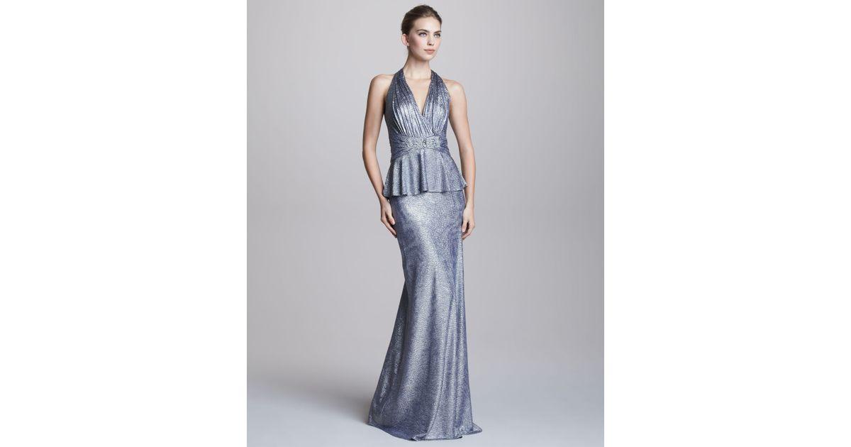 Lyst - David Meister Metallic Halterneck Peplum Gown in Blue