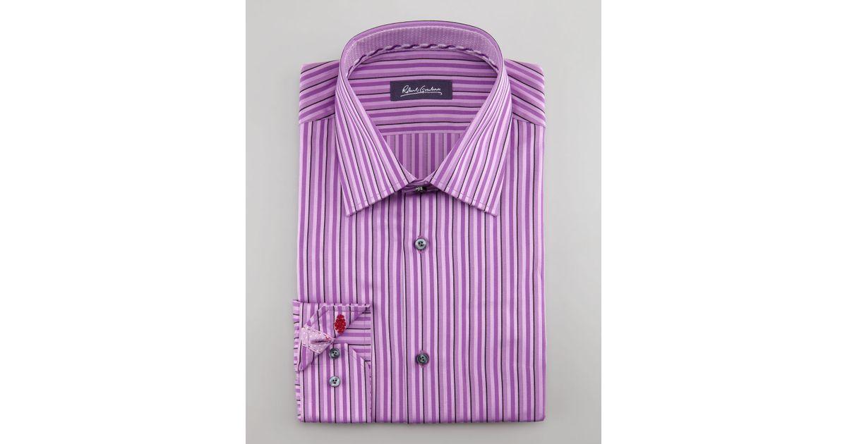 Lyst Robert Graham Daly Striped Dress Shirt Purple In Purple For Men