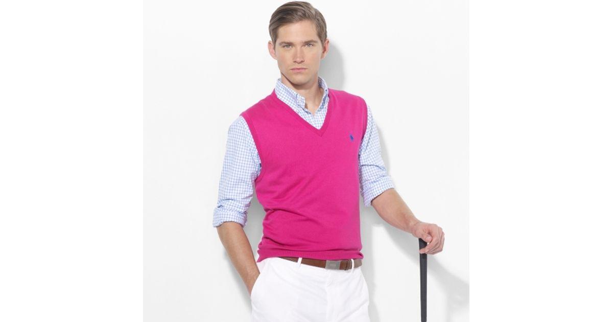 Lyst Polo Ralph Lauren Vneck Sweater Vest In Pink For Men