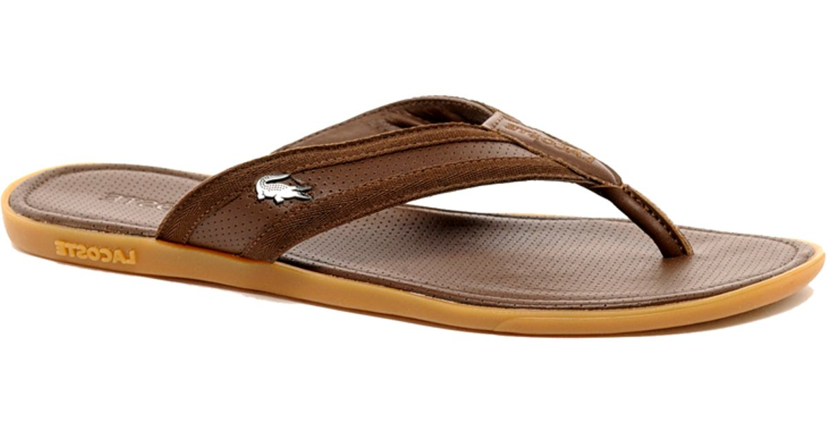 dbef20316e3 Lyst - Lacoste Carros Leather Sandals in Brown for Men