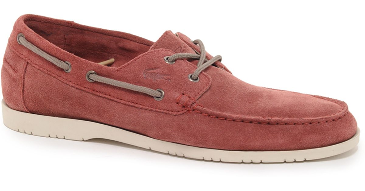 1a5de7cd8bd74f Lyst - Lacoste Corbon Suede Boat Shoes in Red for Men