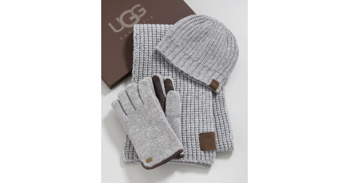 4e3f3a260a0 Lyst - UGG Hat Scarf Gloves Box Set in Gray for Men