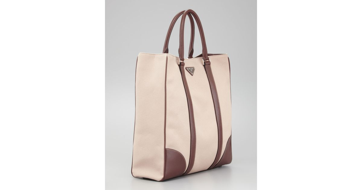 Lyst - Prada Canvas Leather Tote Bag in Natural for Men