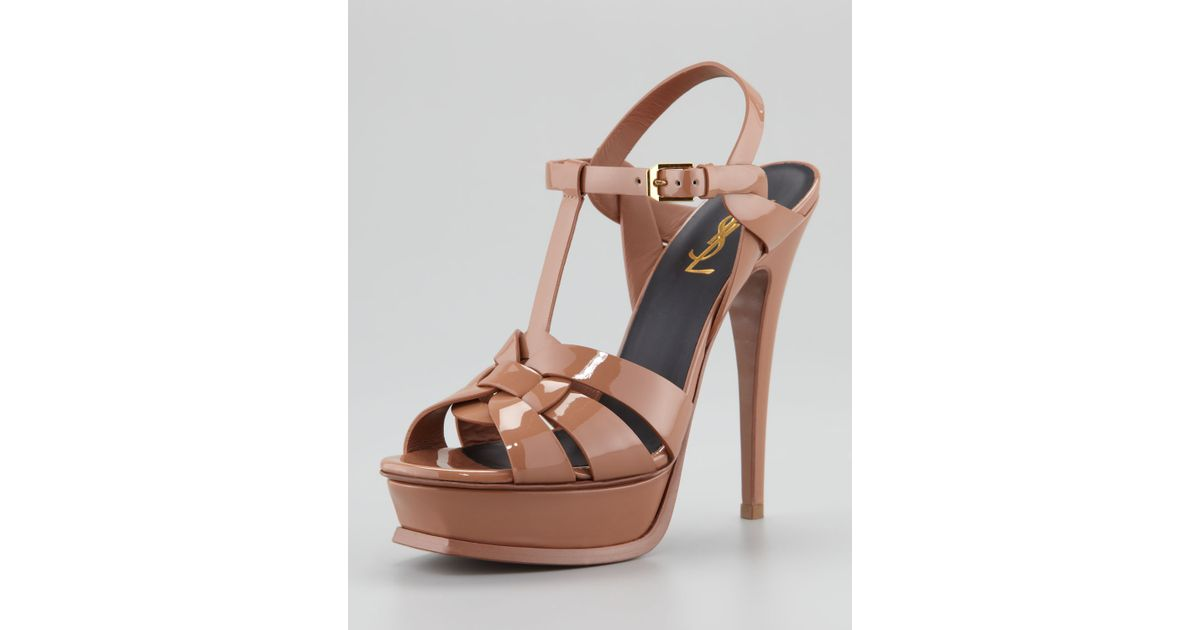 cf9adc760782 Lyst - Saint Laurent Tribute Patent Leather Sandal in Brown