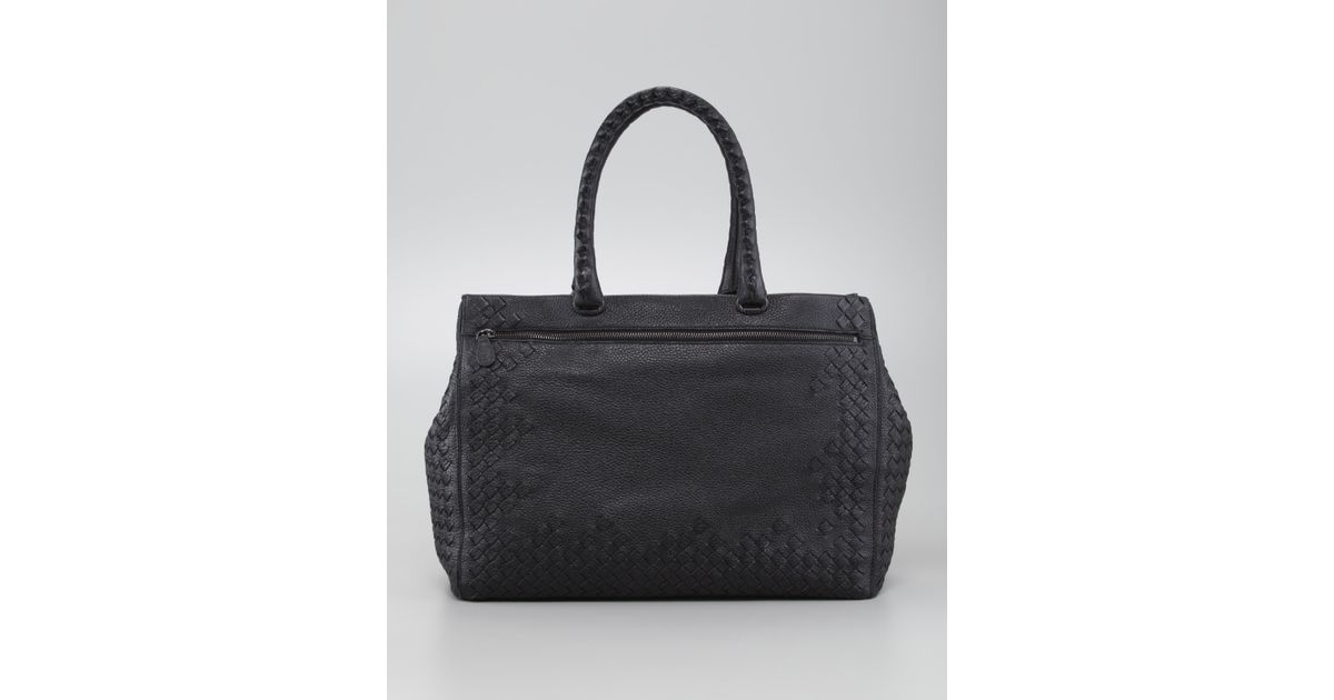 3585408a7d523 Lyst - Bottega Veneta Cervo Medium Woven Frame Tote Bag Black in Black
