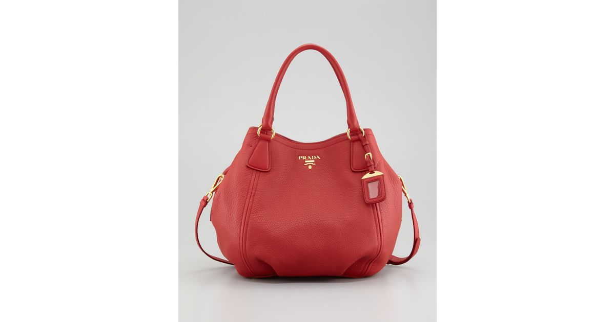 99871be4224a ... coupon code for lyst prada vitello daino tote bag in red f0ff4 4d323