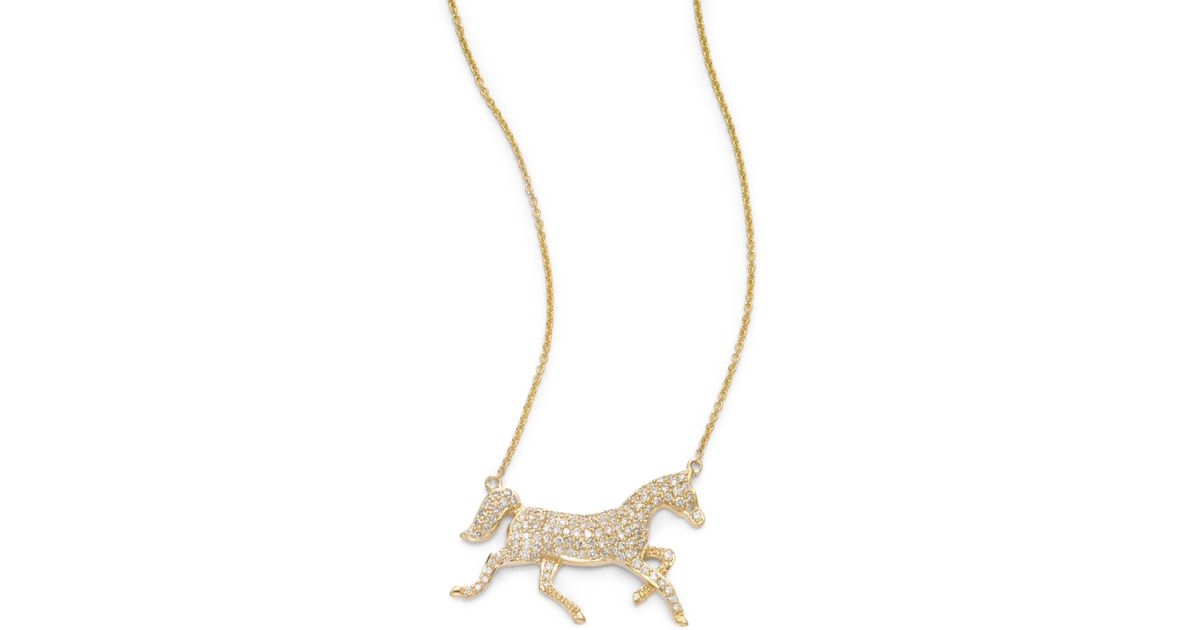 Lyst sydney evan diamond horse pendant necklace in metallic aloadofball Choice Image