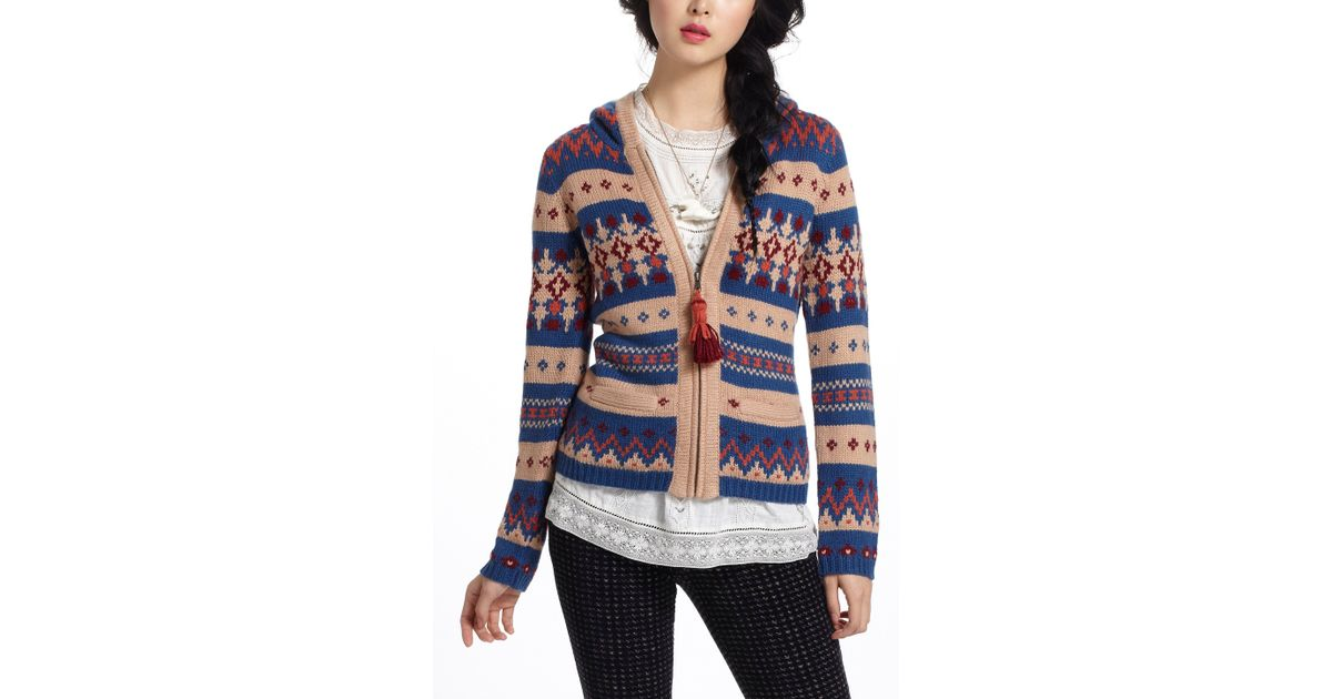 Anthropologie Fairisle Hooded Sweater | Lyst