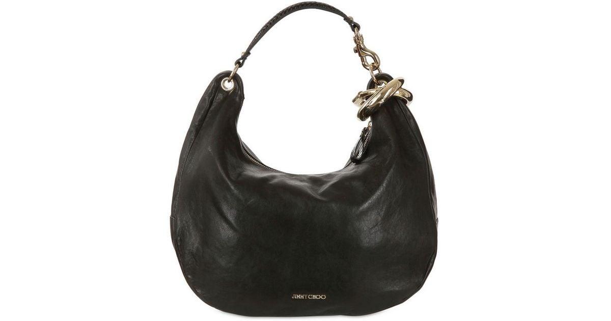cfd27fb127 Lyst - Jimmy Choo Large Solar Soft Leather Shoulder Bag in Black